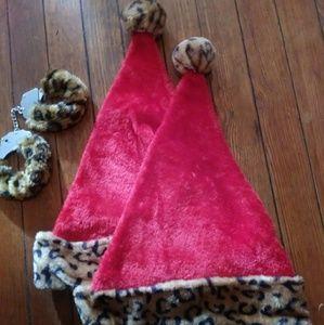 Accessories - 2-Santa Claus Cheetah Print Hats